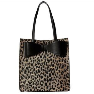 NWT betsey Johnson mighty jungle leopard bow tote